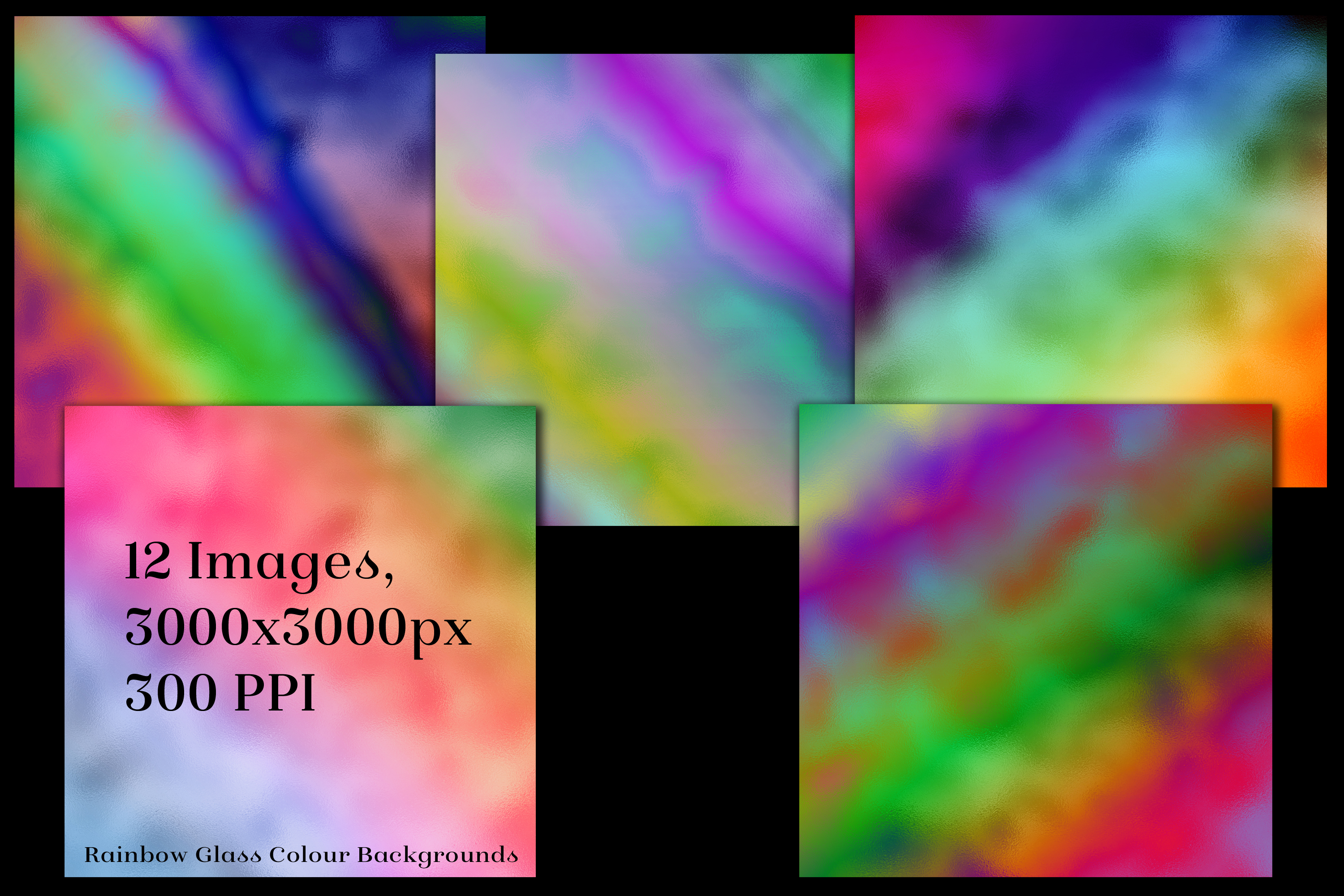 Rainbow Colour Glass Backgrounds - 12 Image Textures Set example image 2