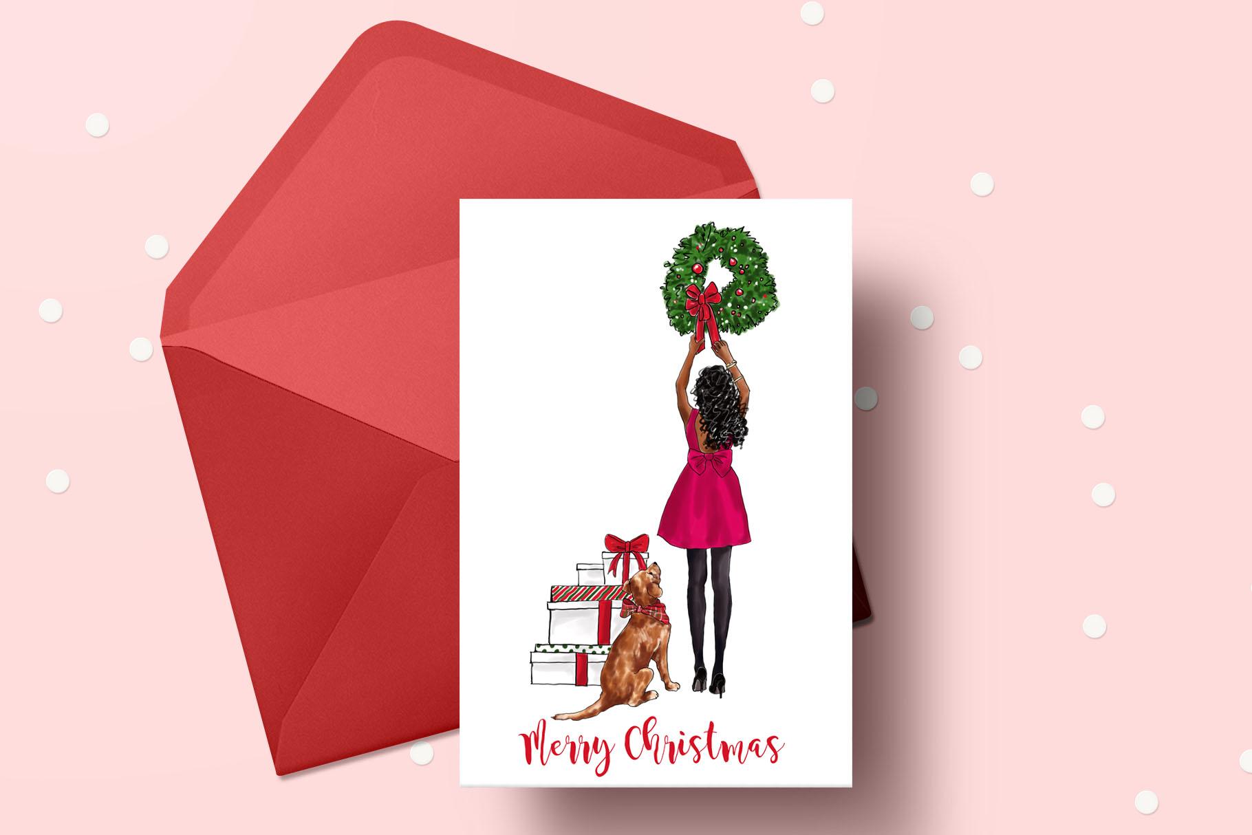 Fashion illustration - Christmas Girl 7 - Dark Skin example image 6