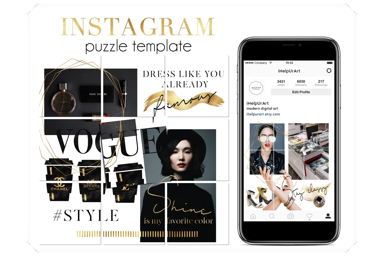 Instagram Puzzle Posts Template - Fashion Instagram Posts example image 1
