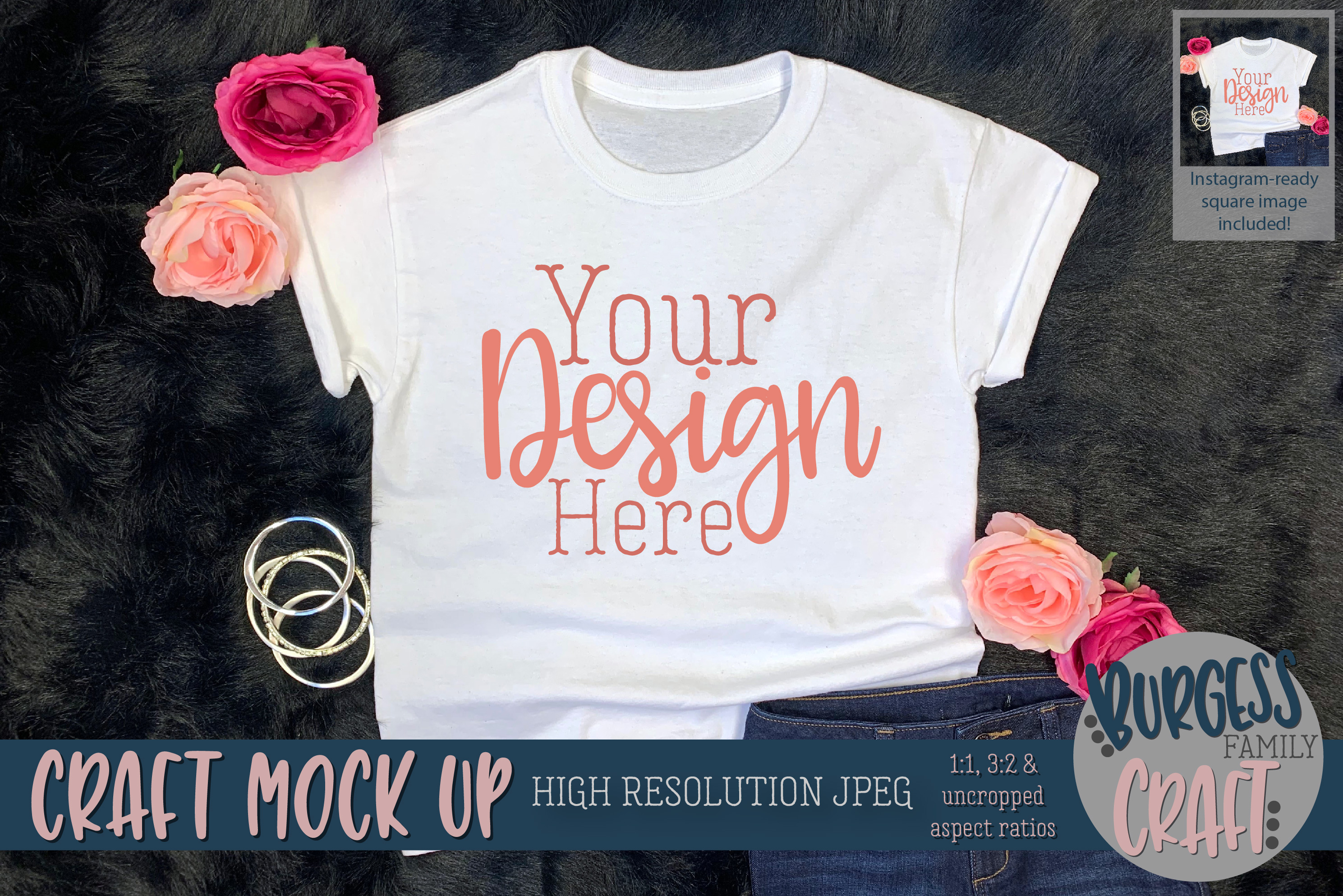 Youth Shirt Pretty w/Jeans Craft mock up | High Res JPEG example image 1