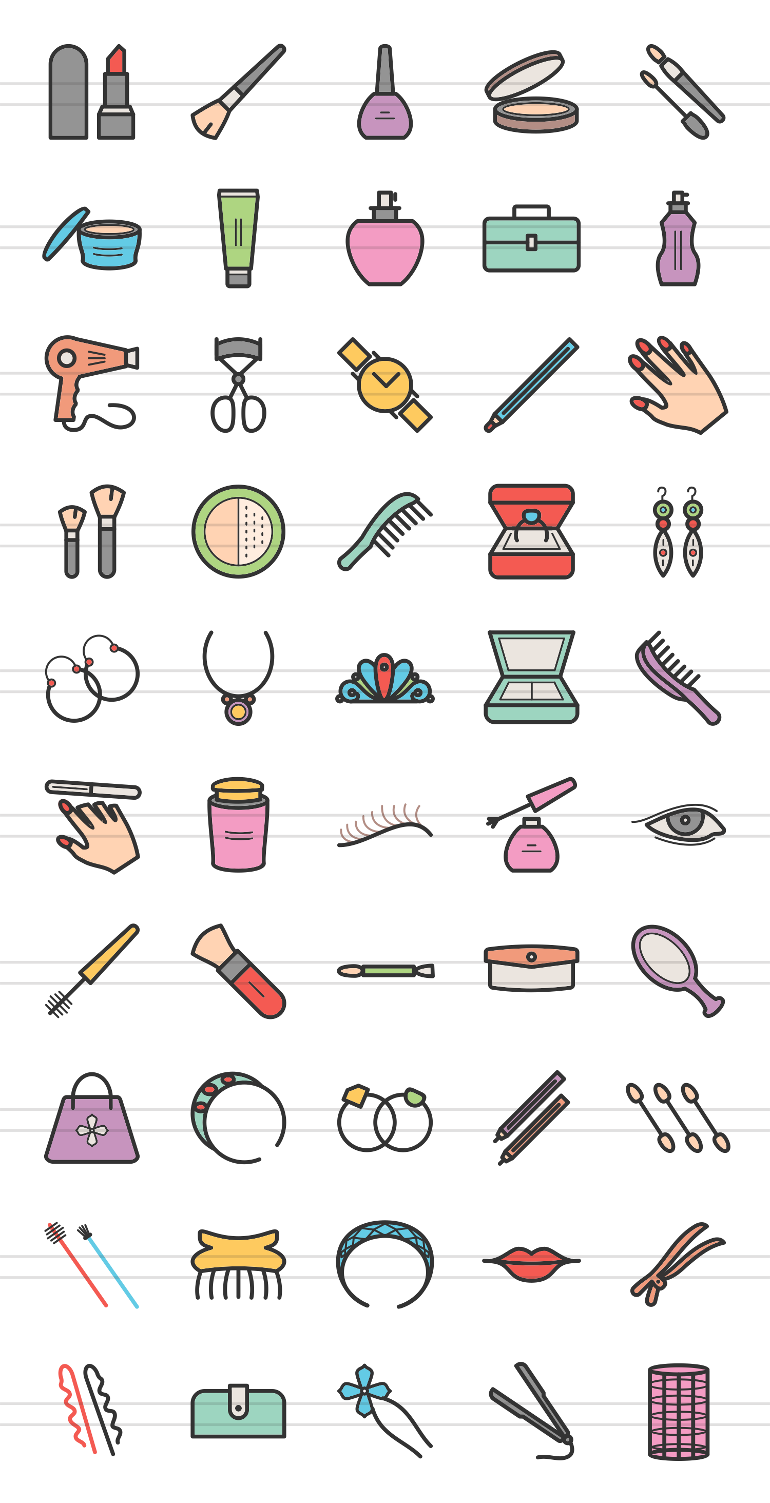 50 Makeup & Accessories Linear Multicolor Icons example image 2