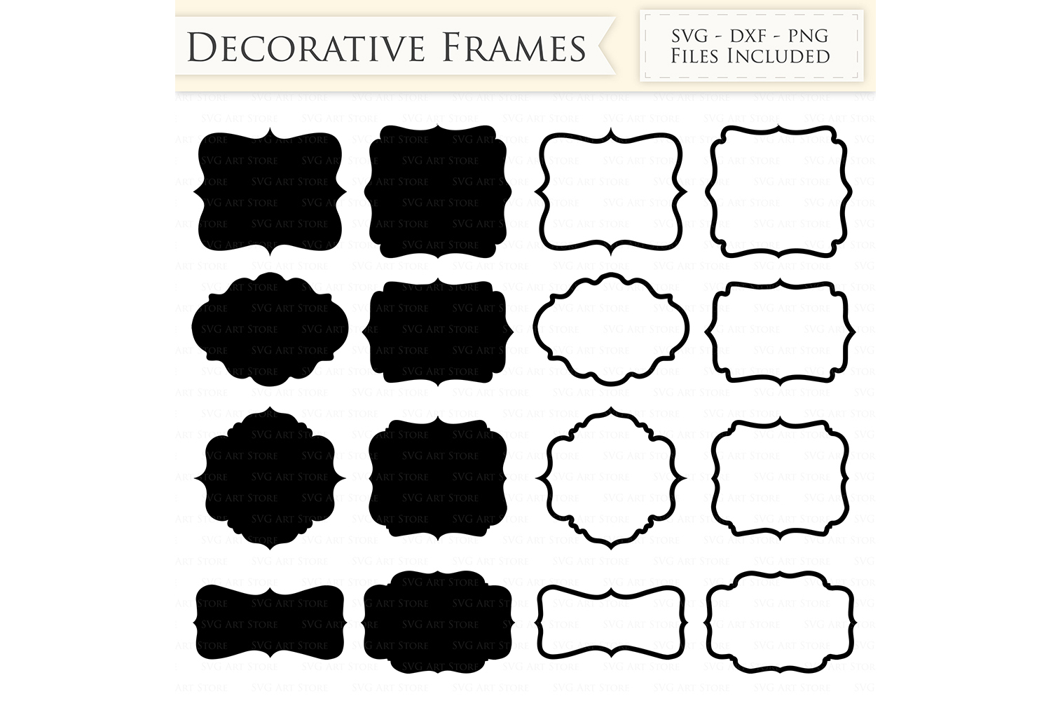 Decorative Frames SVG Files - Frame Outline, Swirl Frame monogram svg cutting files for Cricut and Silhouette - SVG, dxf, png files Included example image 1