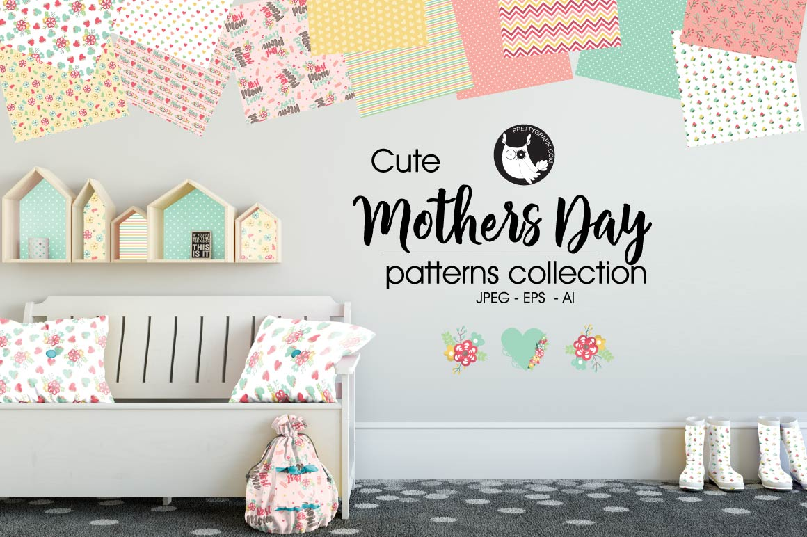 MOTHERS DAY, digital papers example image 1