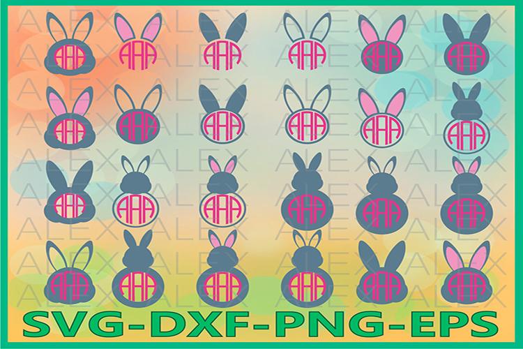 Bunny Monogram Svg, Rabbit svg, Easter SVG, Easter Bunny svg example image 1