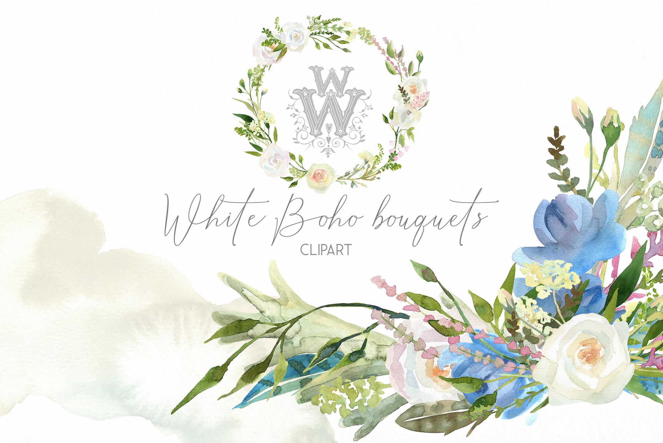 Watercolor floral wedding bouquets, boho compositios wreath example image 1