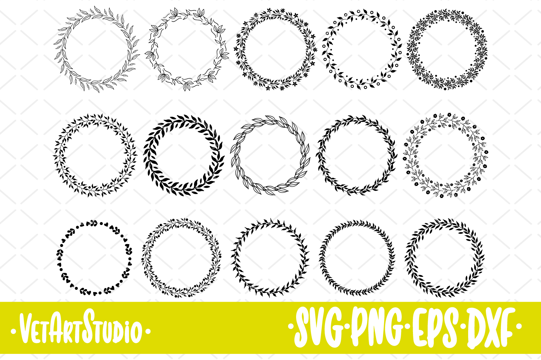 15 Round frames, circle wreaths SVG, decorative border example image 1