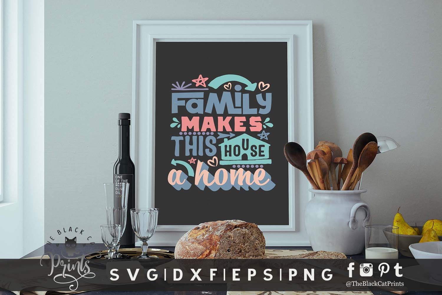 Family Makes This House a Home SVG DXF EPS PNG Family svg example image 5