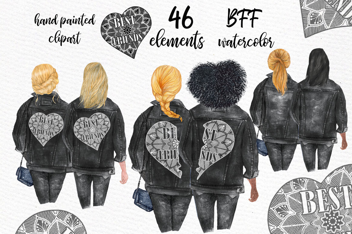 Best Friends Clipart,SOUL SISTERS CLIPART, Bff clipart, example image 1
