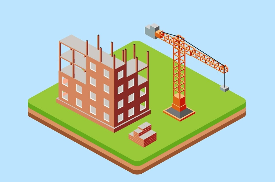 Industrial city building with construction cranes and buildi example image 2