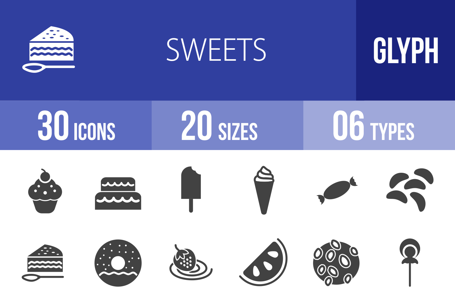 30 Sweets & Confectionery Glyph Icons example image 1
