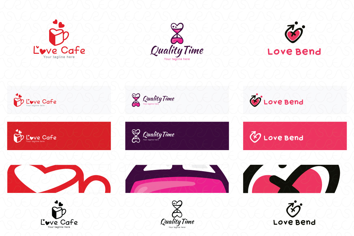 Heart Shape & Love Symbol Logo Templates Pack of 32 example image 12