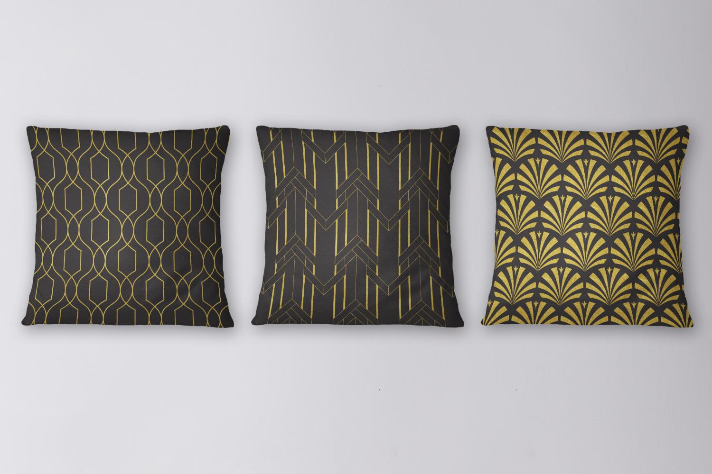 8 Seamless Art Deco Patterns - Black & Gold Set 2 example image 4