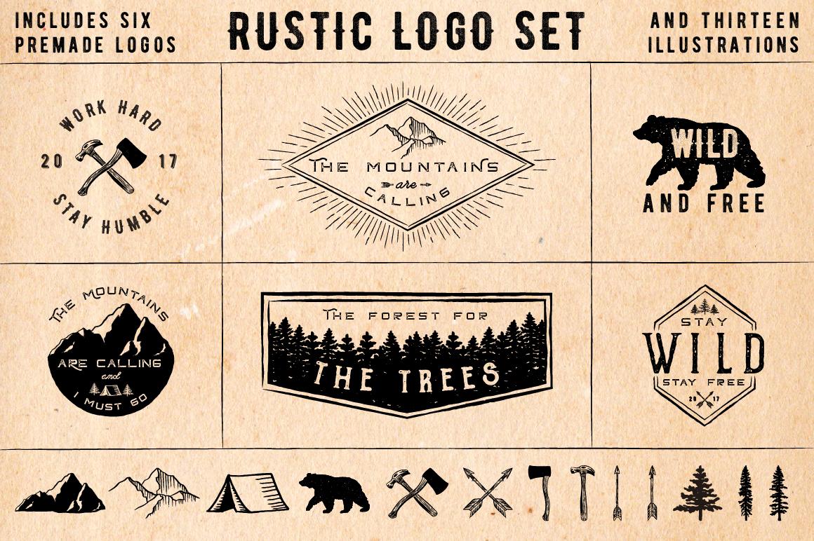 Rustic Logos & Illustrations vol. 1 AI PNG example image 1