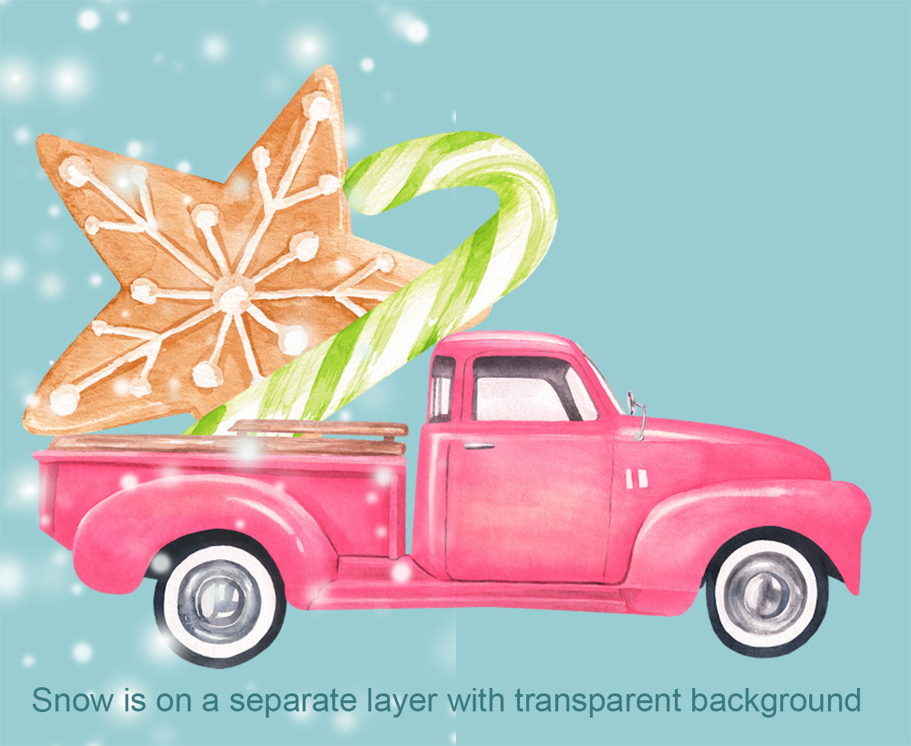Watercolor Christmas pink pick-up cliparts example image 3