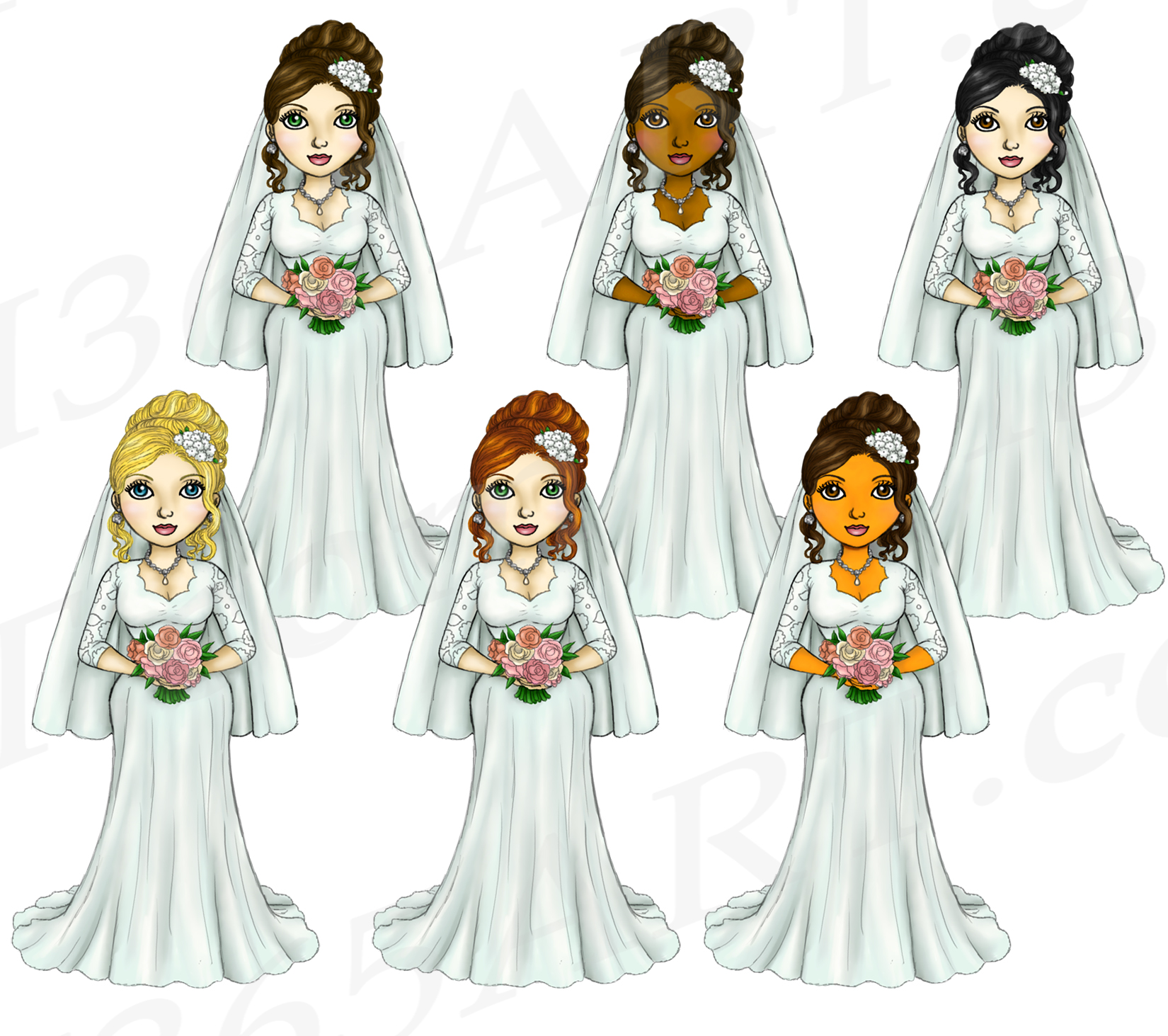 Bride Clipart Wedding Girls, Fashion Doll Illustrations, PNG example image 3