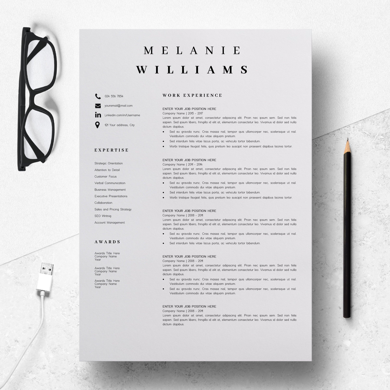 Resume Template Minimalist   CV Template Word - Melanie example image 3