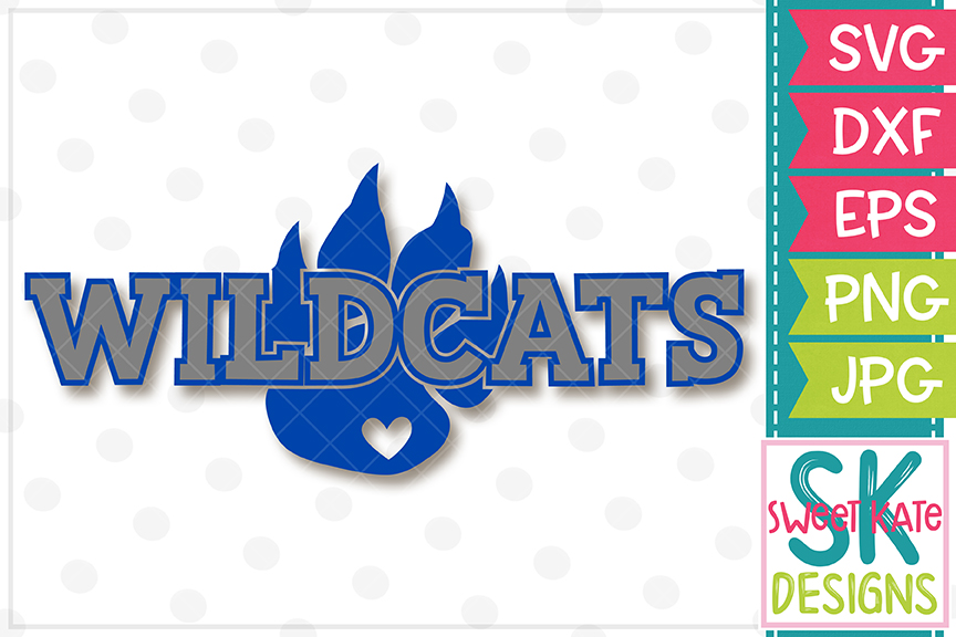 Wildcats with Paw SVG DXF EPS PNG JPG example image 2