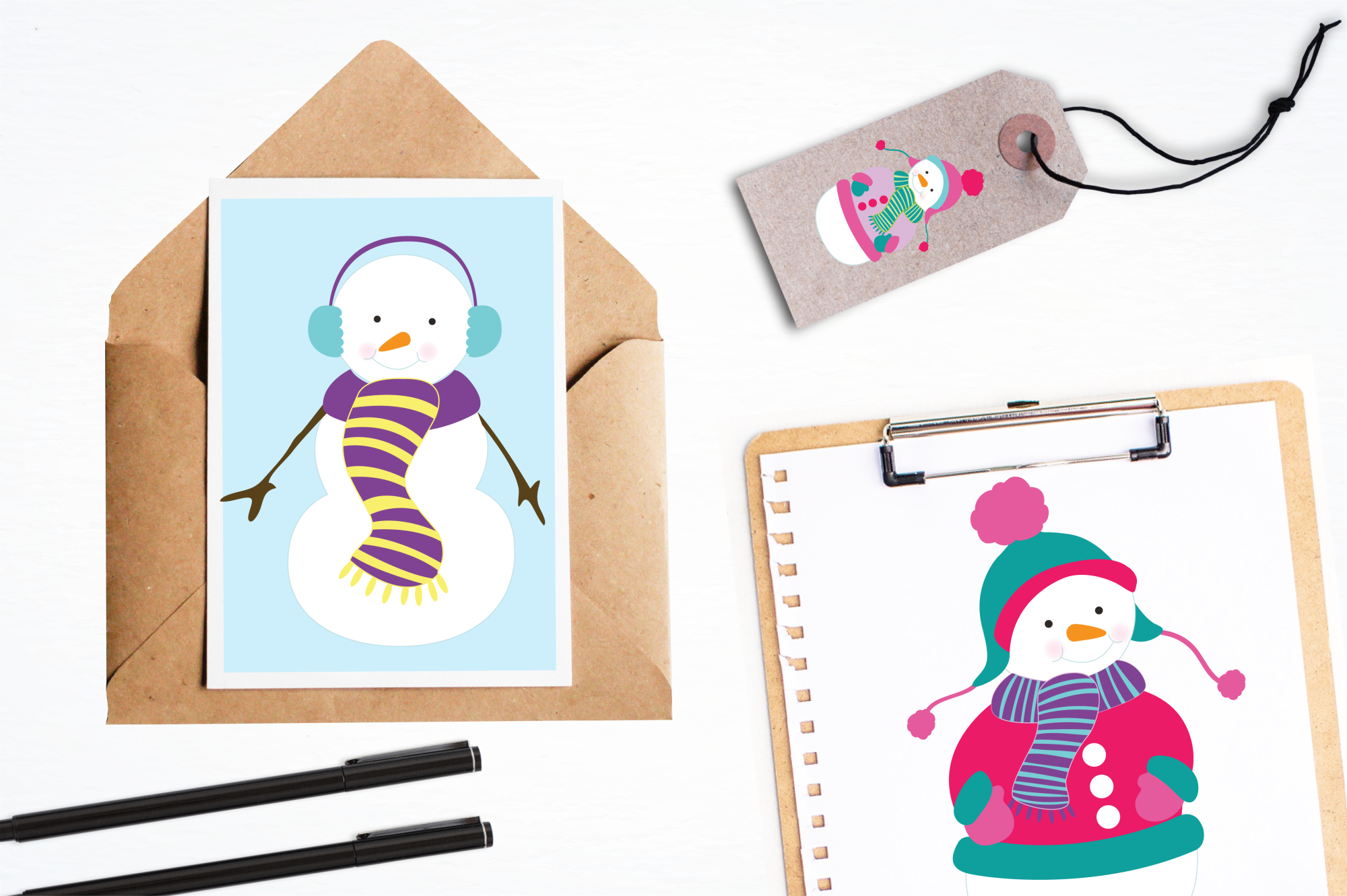 Colorful Snowmans graphics and illustrations example image 4