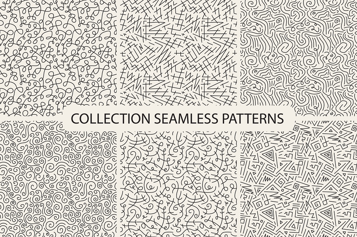 Hand drawn seamless curly patterns. example image 1