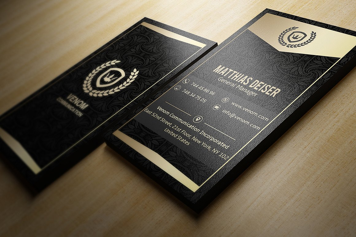 6 Gold And Black Business Cards Bundle example image 4