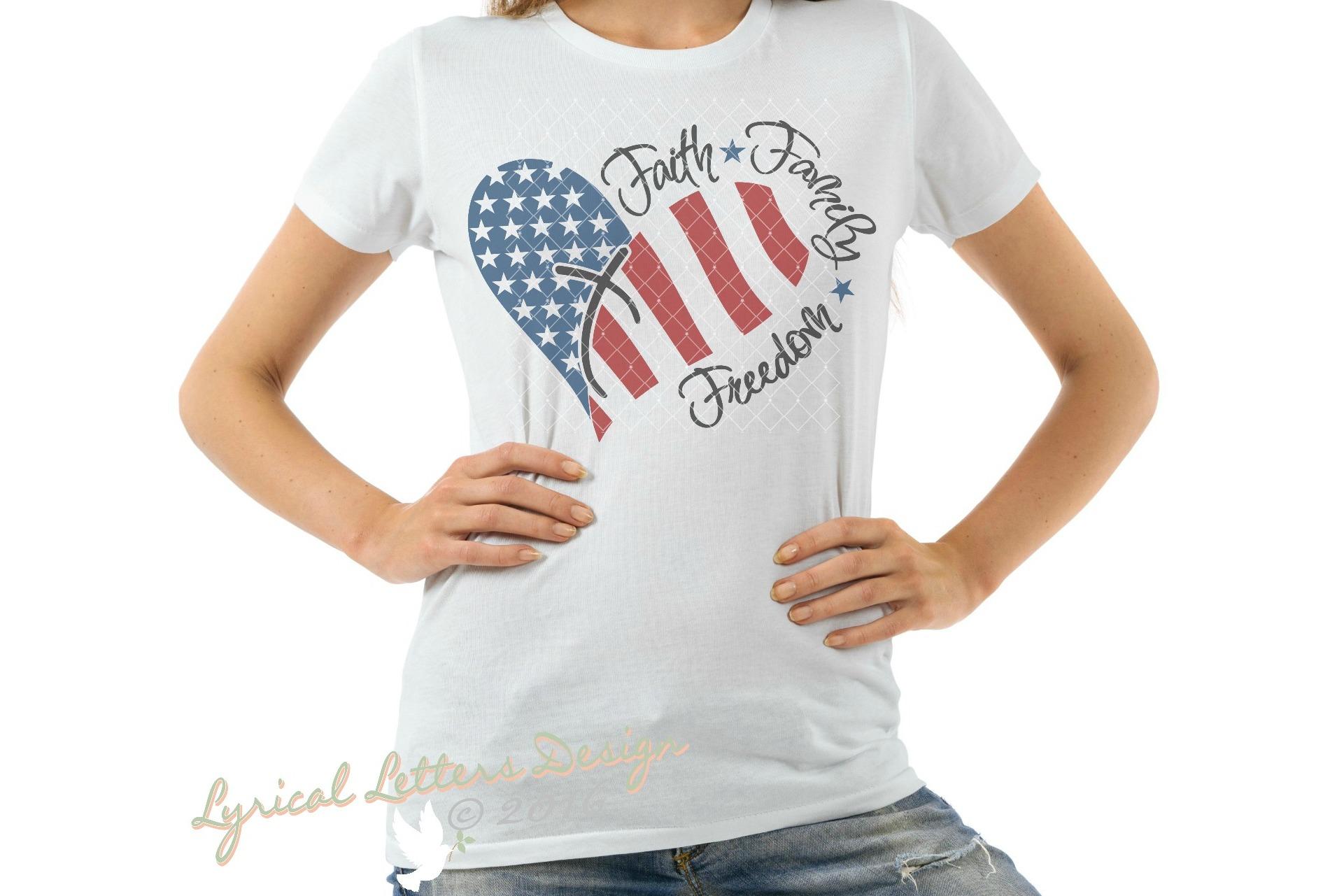 Faith Family Freedom American Patriotic USA Cut File LL043F example image 2