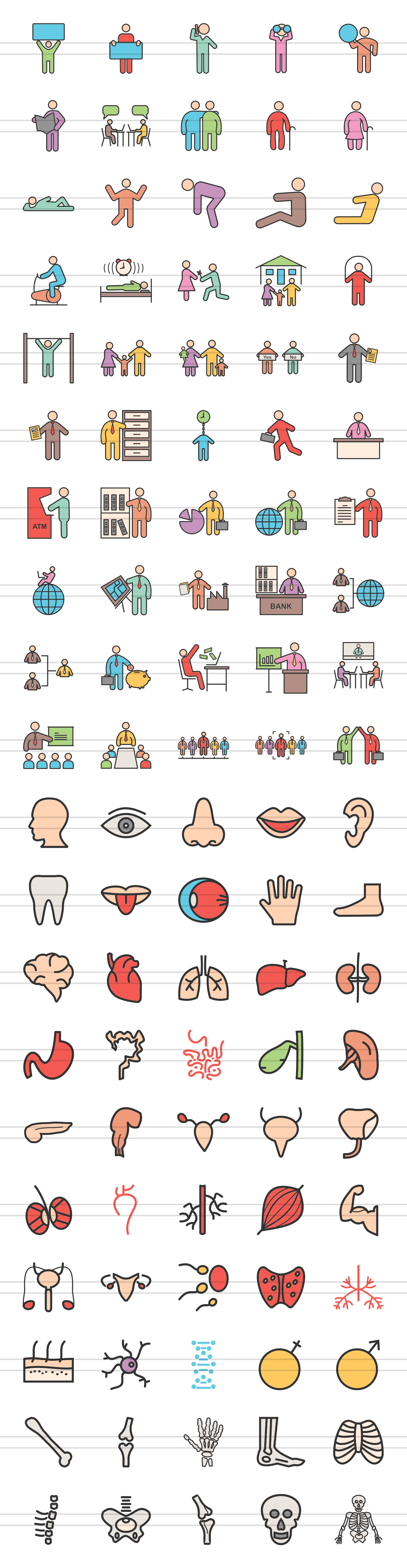 100 Humans & Anatomy Filled Line Icons example image 2