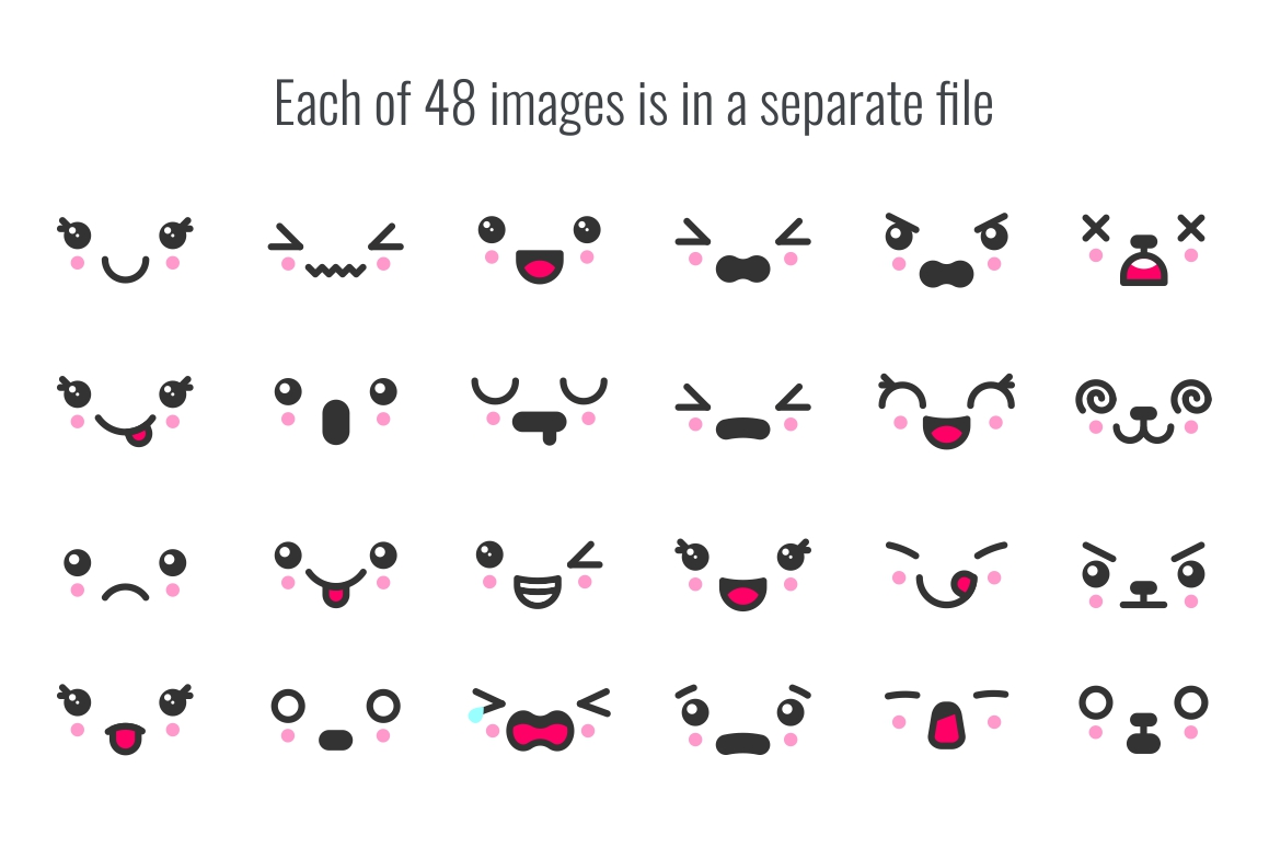 48 cute kawaii faces example image 2