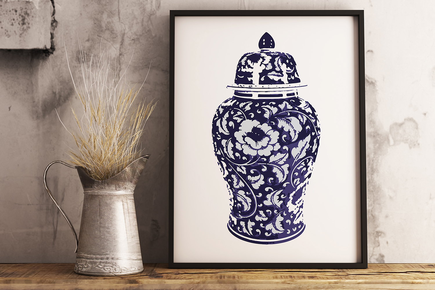 Indigo Blue and White Printable Kitchen Ginger Jar Wall Art example image 4