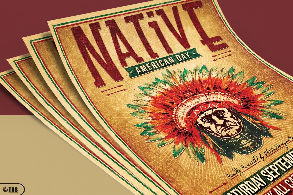 Native American Day Flyer Template example image 3