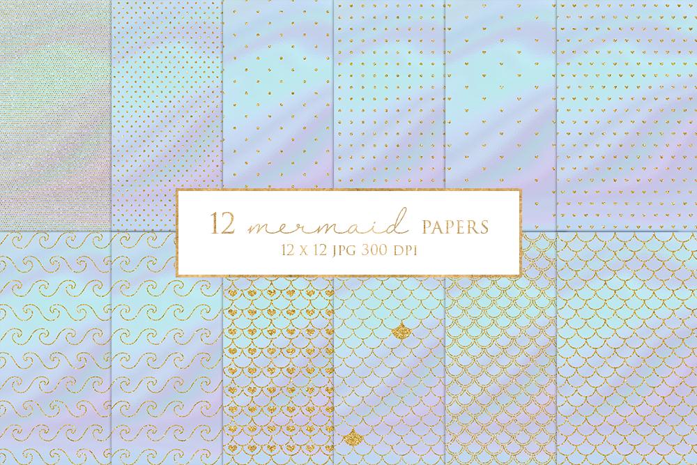 12 Gold Glitter Mermaid Digital Paper Pack example image 1