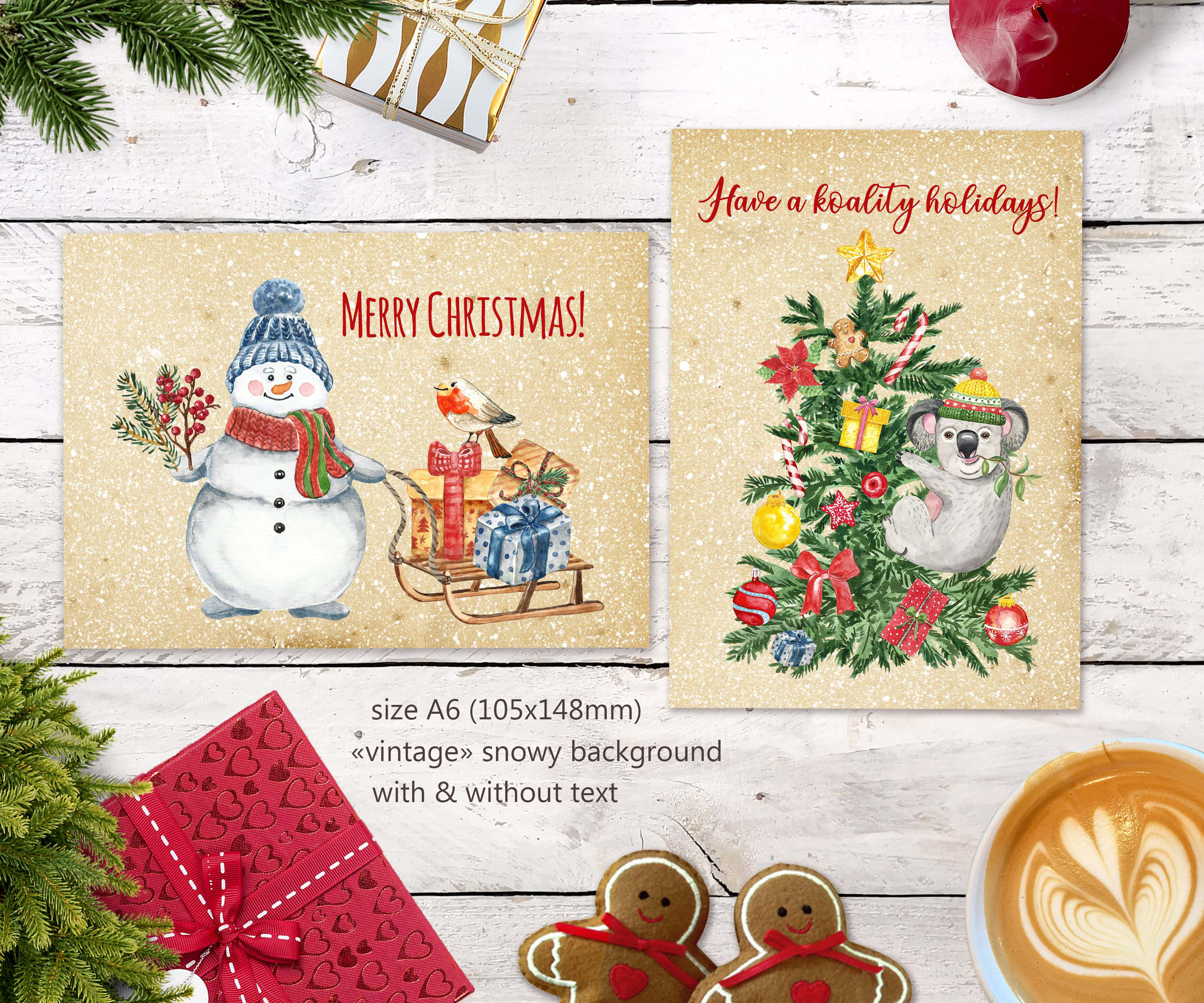 Watercolor Christmas Card Clip Art Holiday Card Set template example image 3