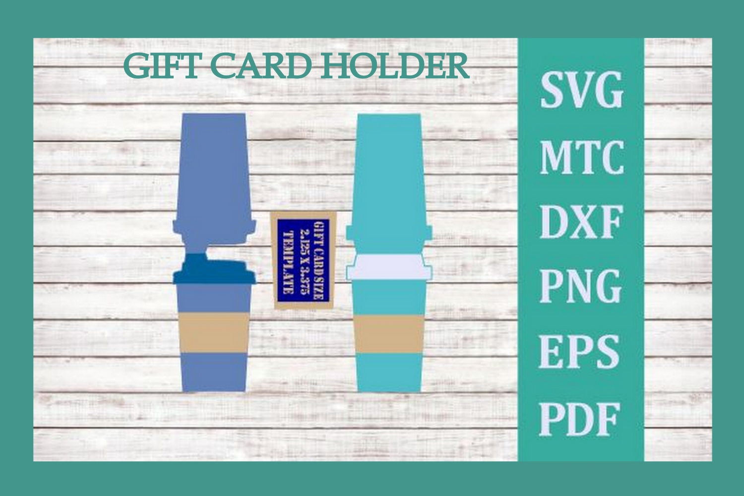 SVG Gift Card Holder Coffee Cup Bundle 4 Cut Files Included example image 4