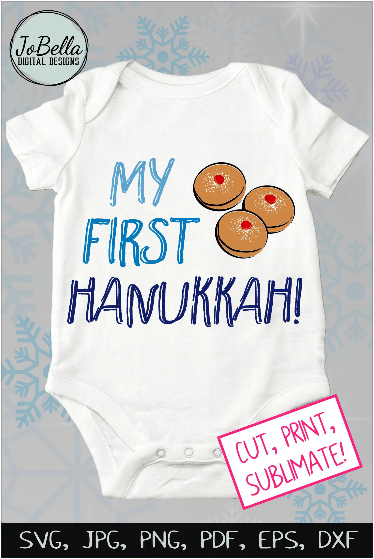 My First Hanukkah SVG, Printable and Sublimation PNG example image 3