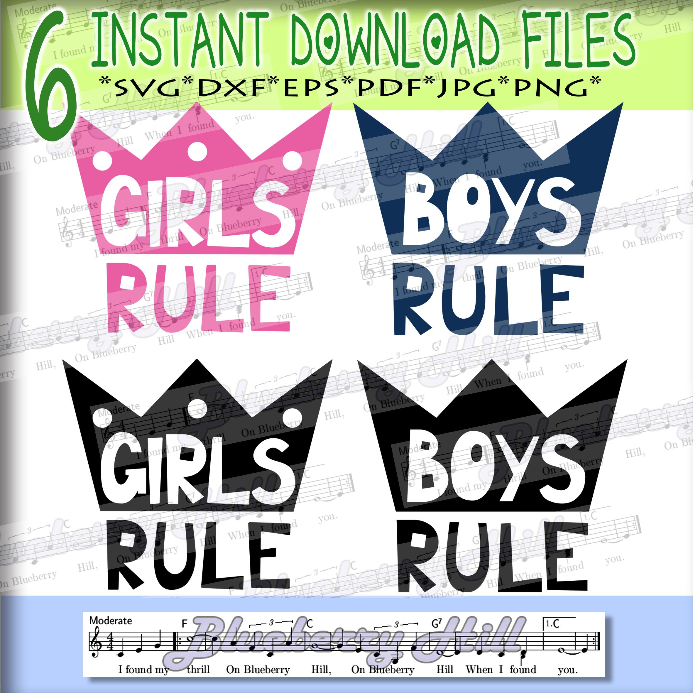 Girls rule Svg - Boys rule Svg -Digital Files - Svg digital example image 4