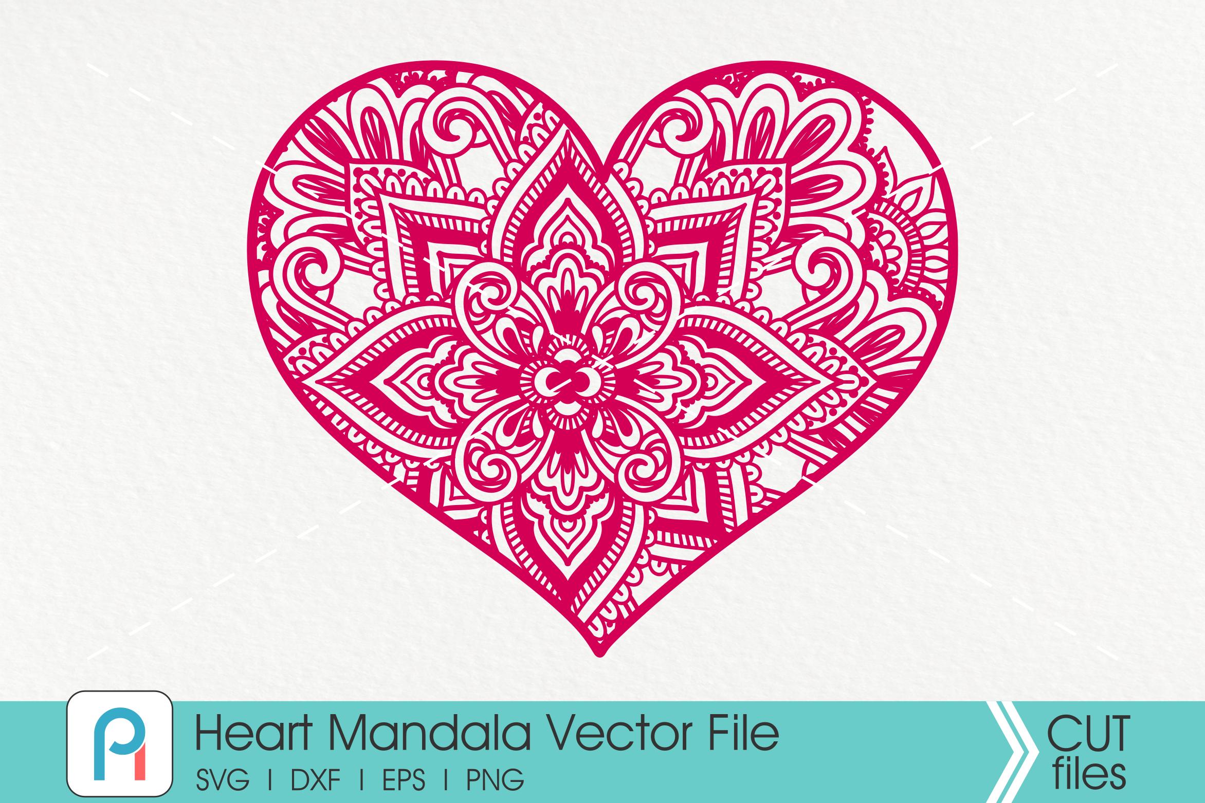 Heart Mandala Svg, Heart Svg, Zentangle Heart Svg, Heart example image 1
