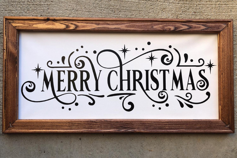 Christmas Svg - Merry Christmas Farmhouse Vintage Sign example image 3