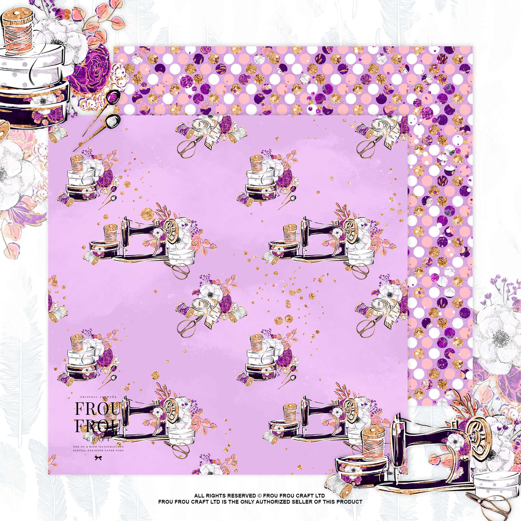 Fashion Designer Sewing Gold Glitter Paper Pack example image 9