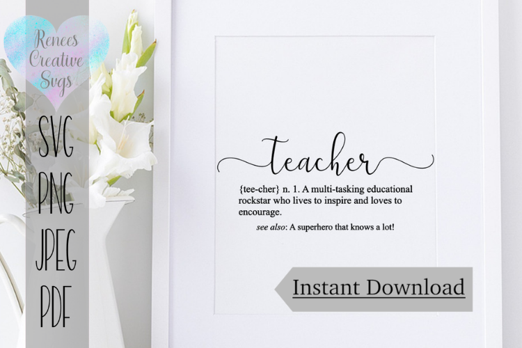 Definition of Teacher  Quote   SVG Cutting File example image 1