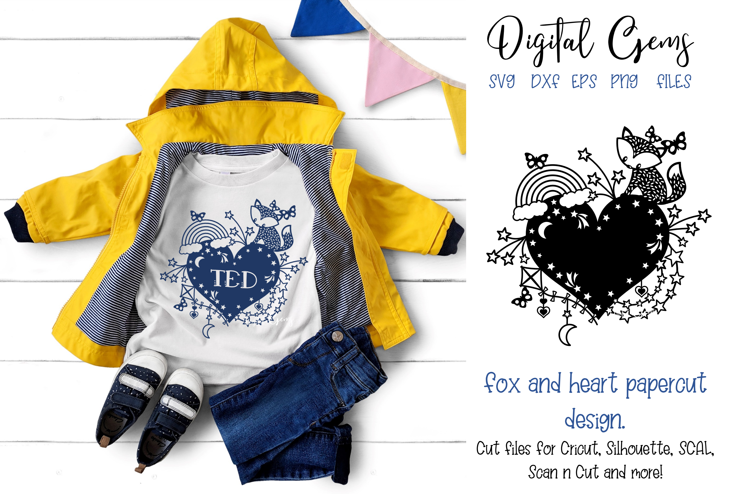 Fox and heart paper cut design SVG / DXF / EPS / PNG files example image 1