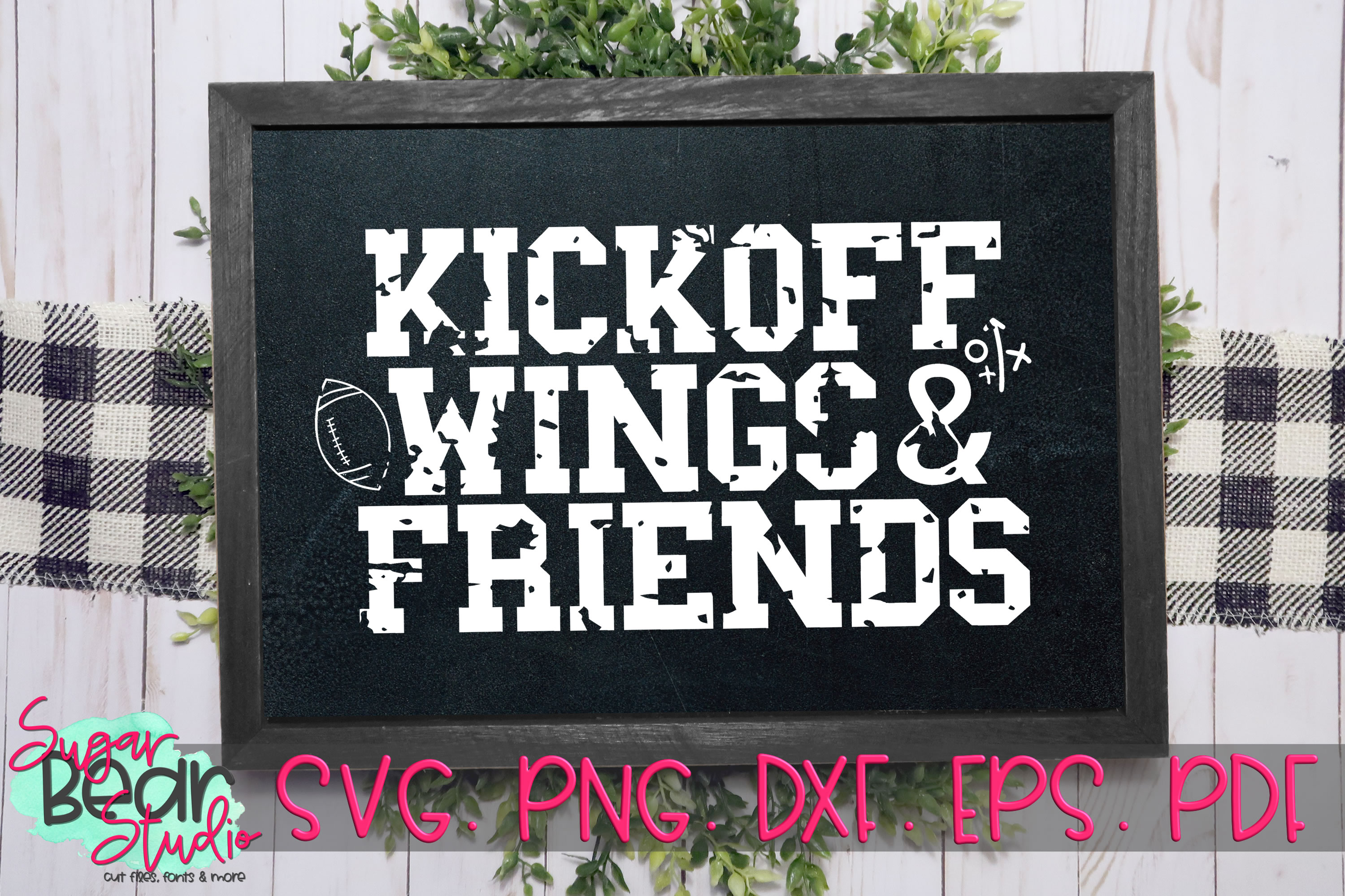 Kickoff Wings & Friends Distressed - A Football SVG example image 1