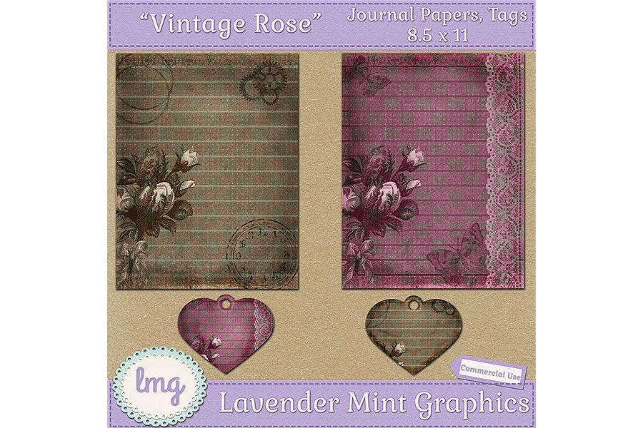 Vintage Rose Junk Journal Scrapbook Paper example image 2