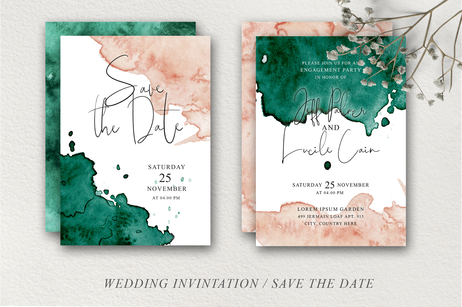 Green and Pink Wedding Invitation Suit example image 8
