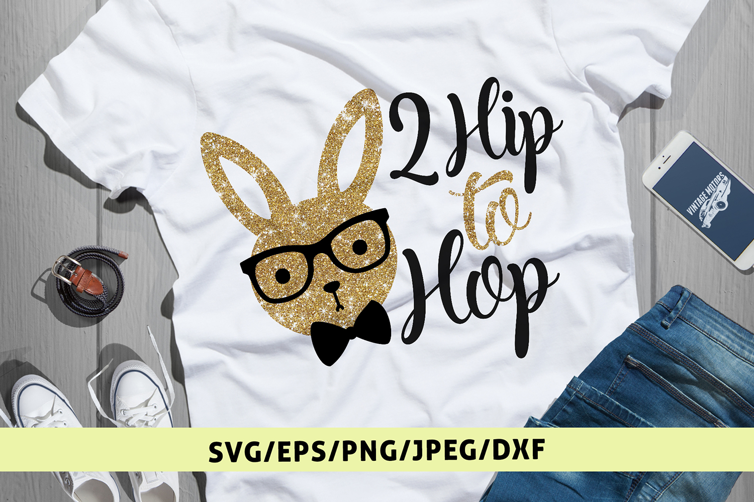 2 Hip To Hop - Easter SVG EPS DXF PNG Cutting Files example image 1