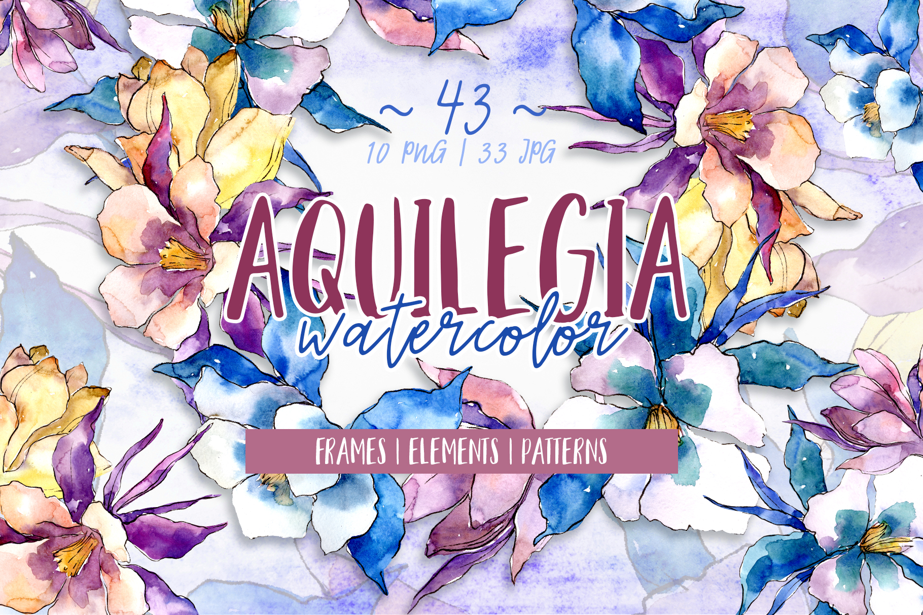 Beautiful aquilegia PNG watercolor set example image 1
