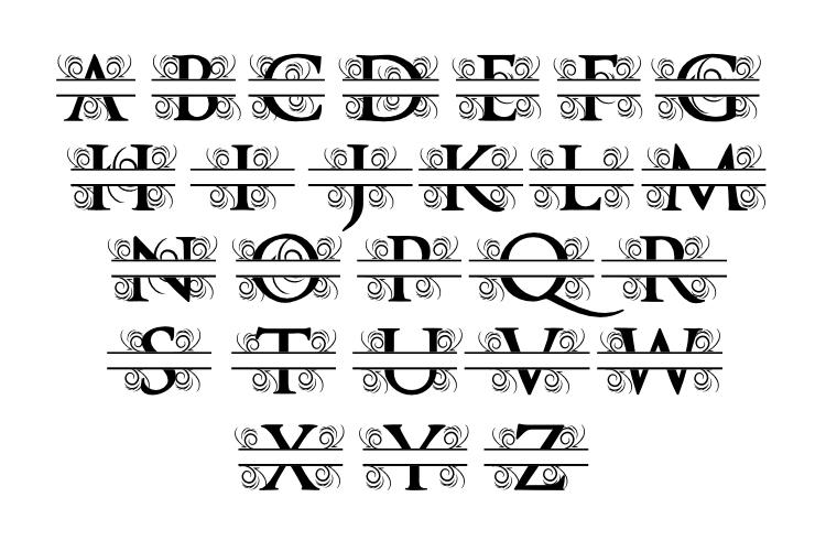 Split Letter A-Z SVG EPS JPG File example image 2