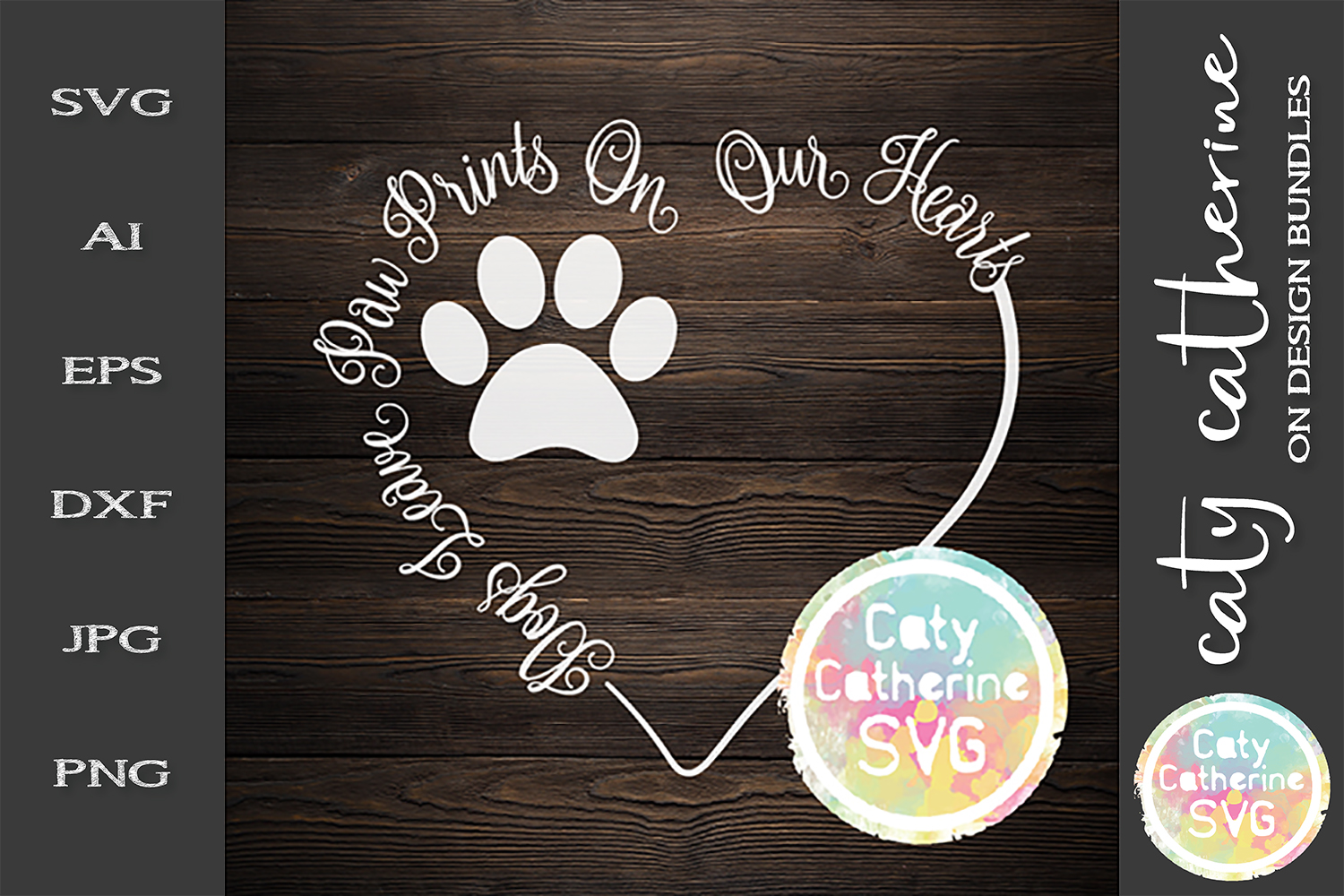 Dogs Leave Paw Prints On Our Hearts SVG Cut File example image 1