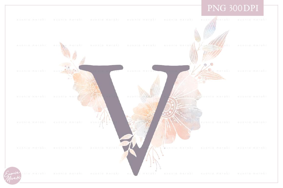 MONOGRAM Letter V Elegant Floral Monogram - Flower initials example image 1