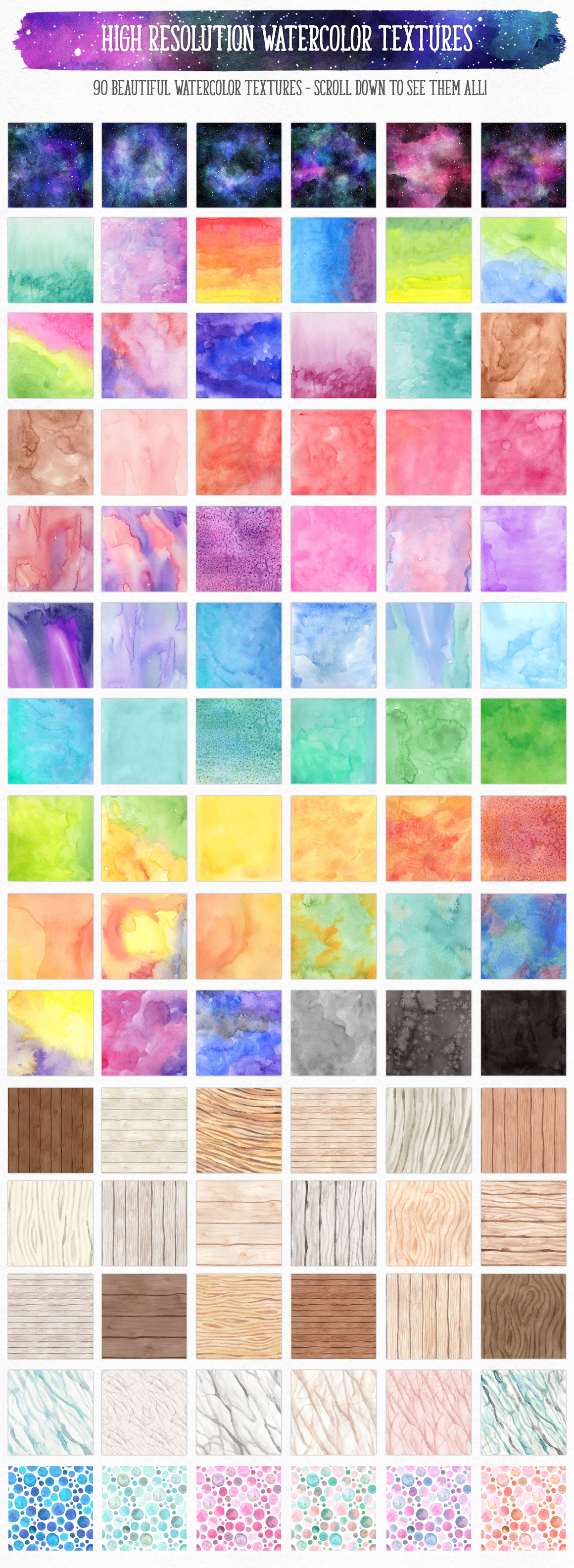 New Watercolor Textures and Graphics Bundle example image 2