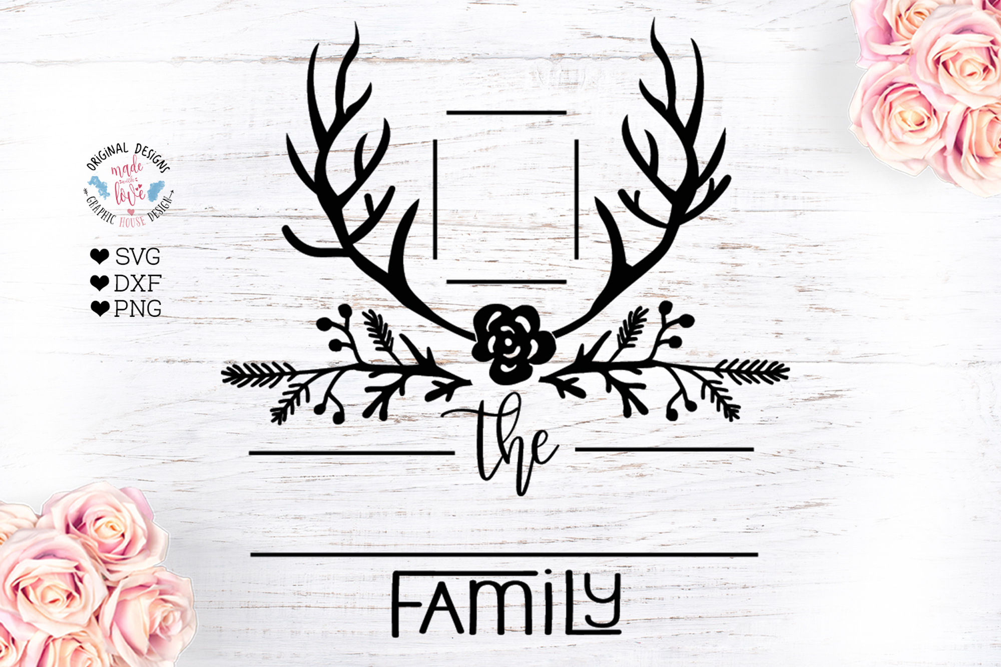 Fall Antlers Family Name Frame example image 1