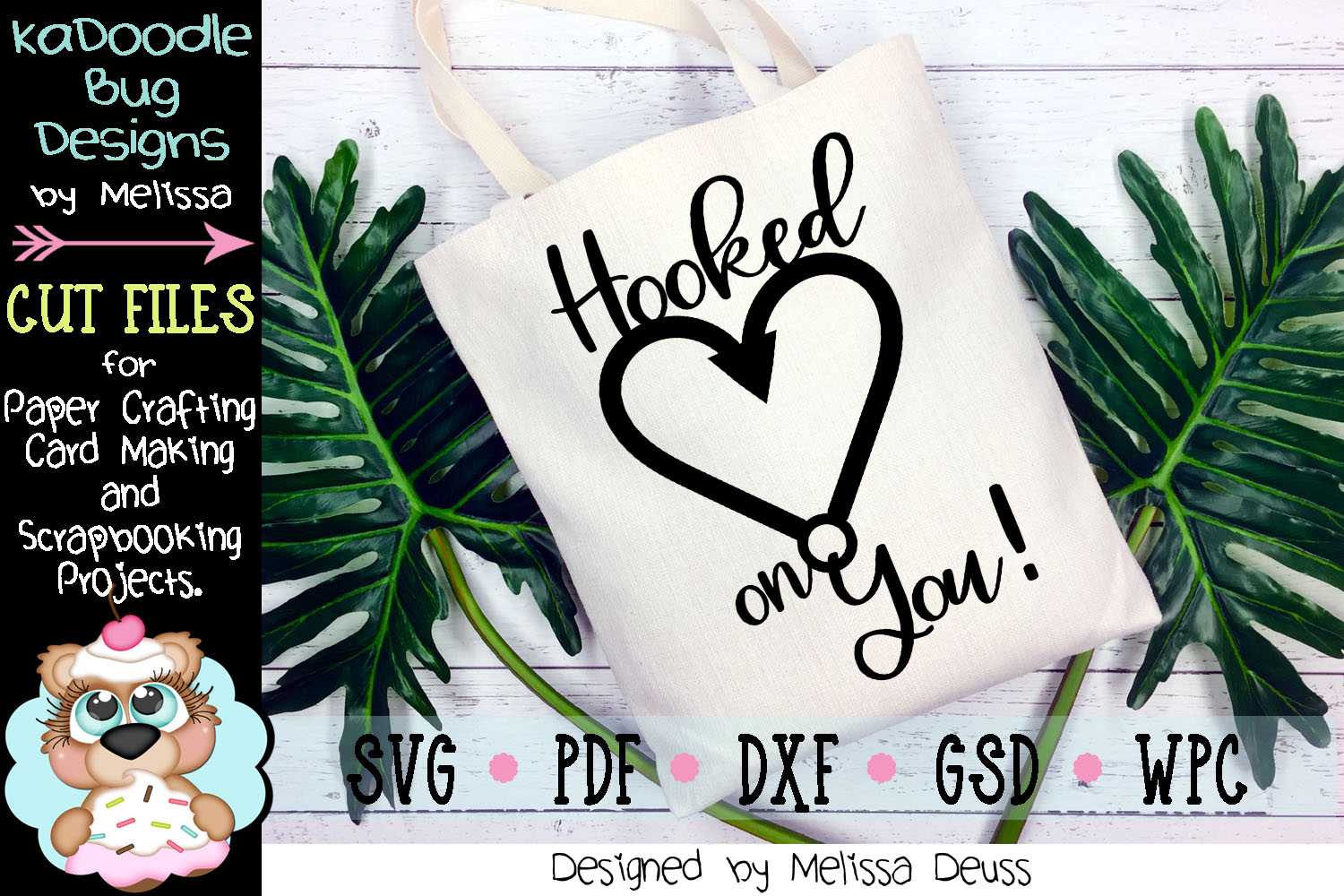 Hooked On You Cut File - SVG PDF DXF GSD WPC example image 1